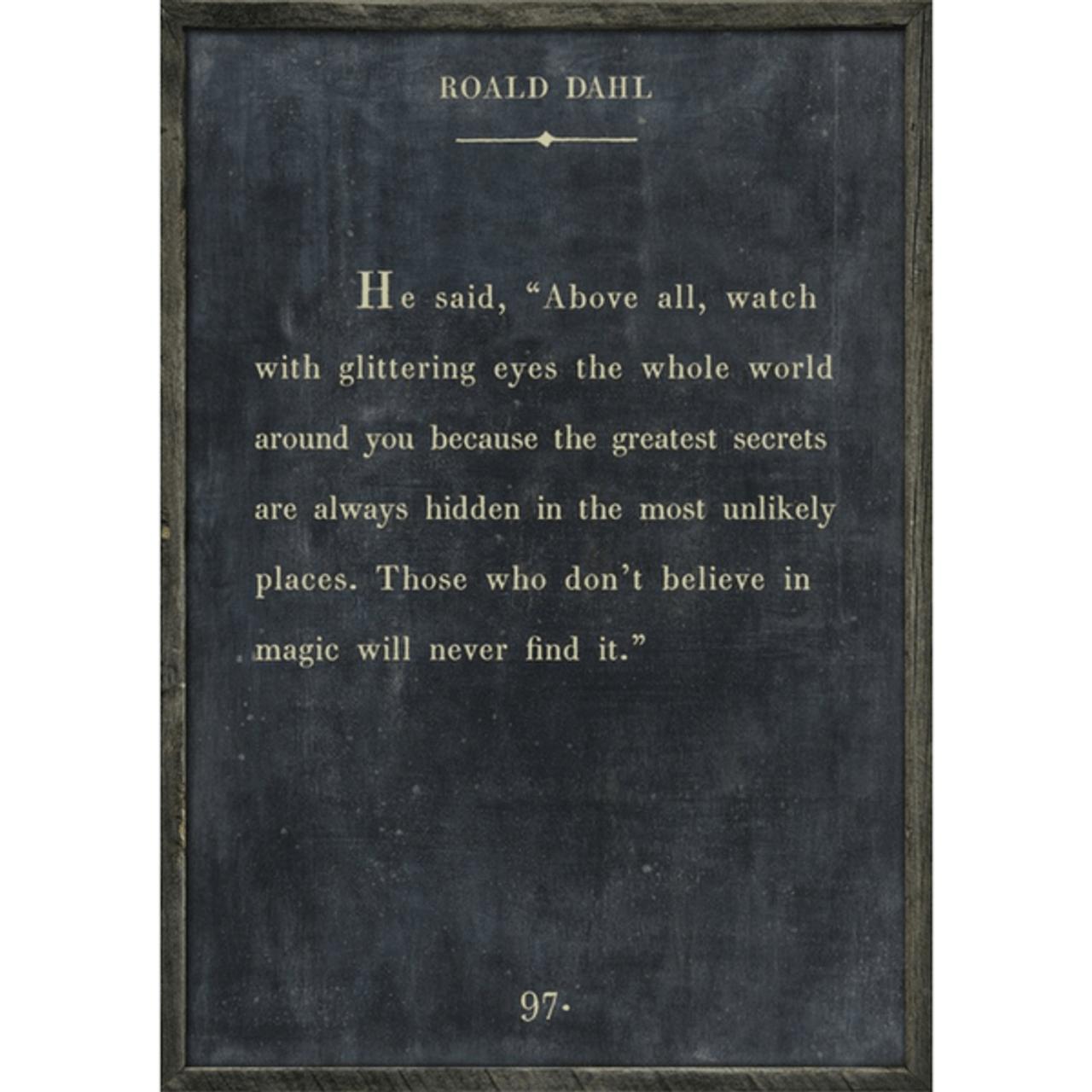 roald dahl art print - charcoal with grey wood frame