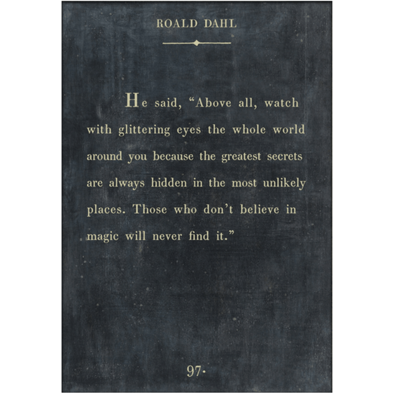 roald dahl art print - charcoal with gallery wrap frame