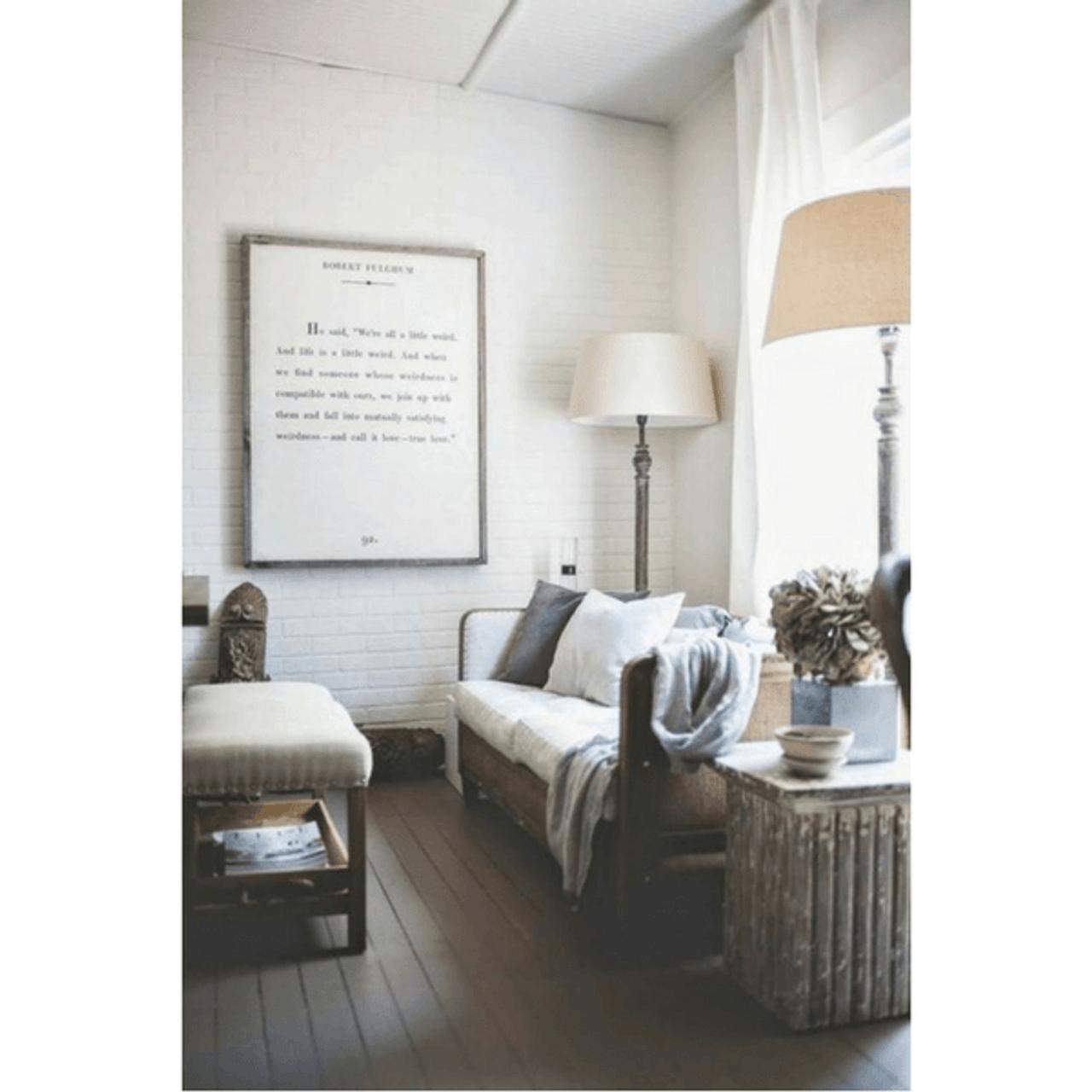 robert fulghum art print - white with grey wood frame