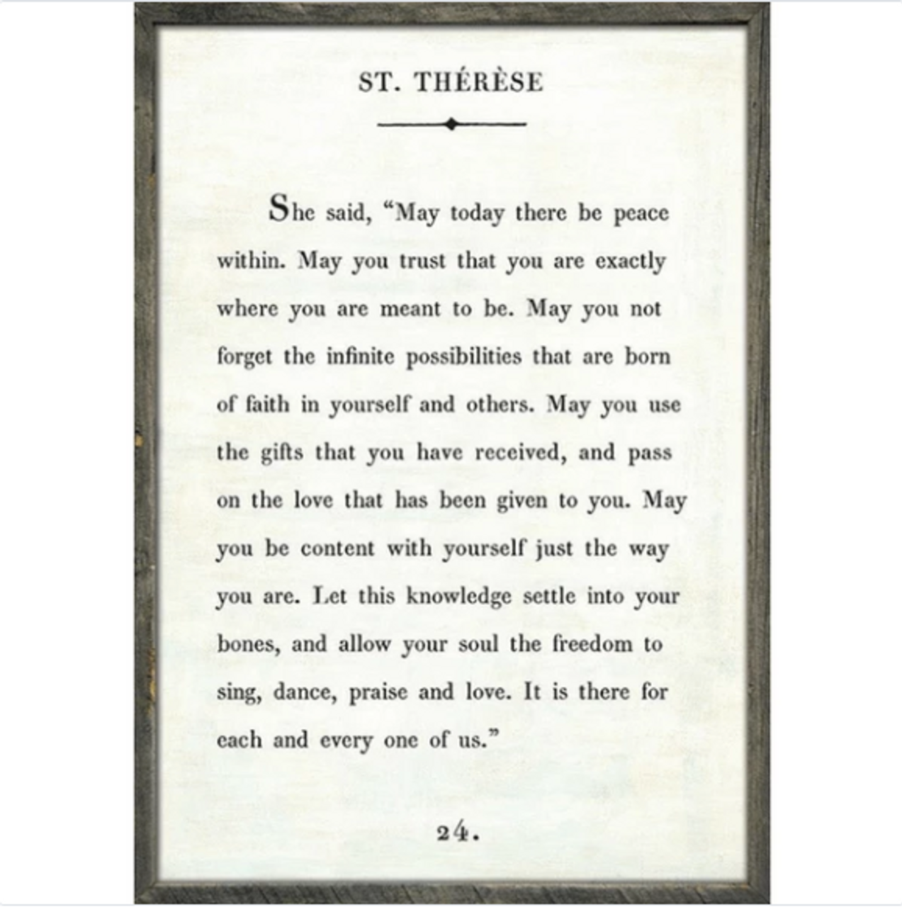 st therese art print - white with grey wood frame