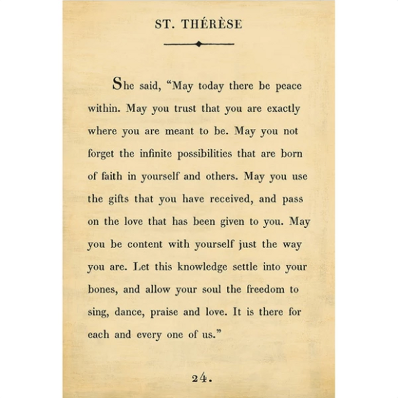 st therese art print - cream with gallery wrap frame