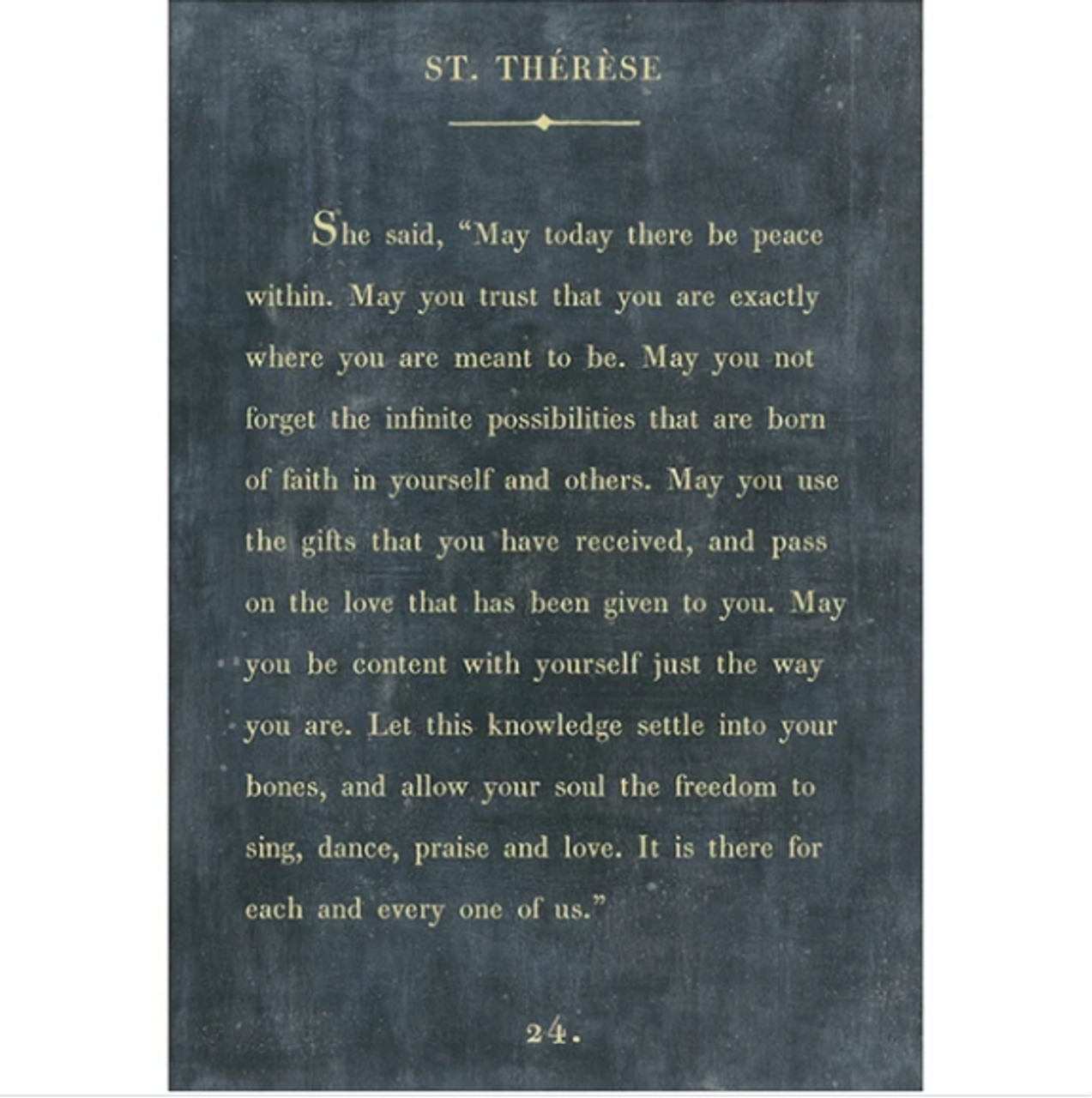 st therese art print - charcoal with gallery wrap frame