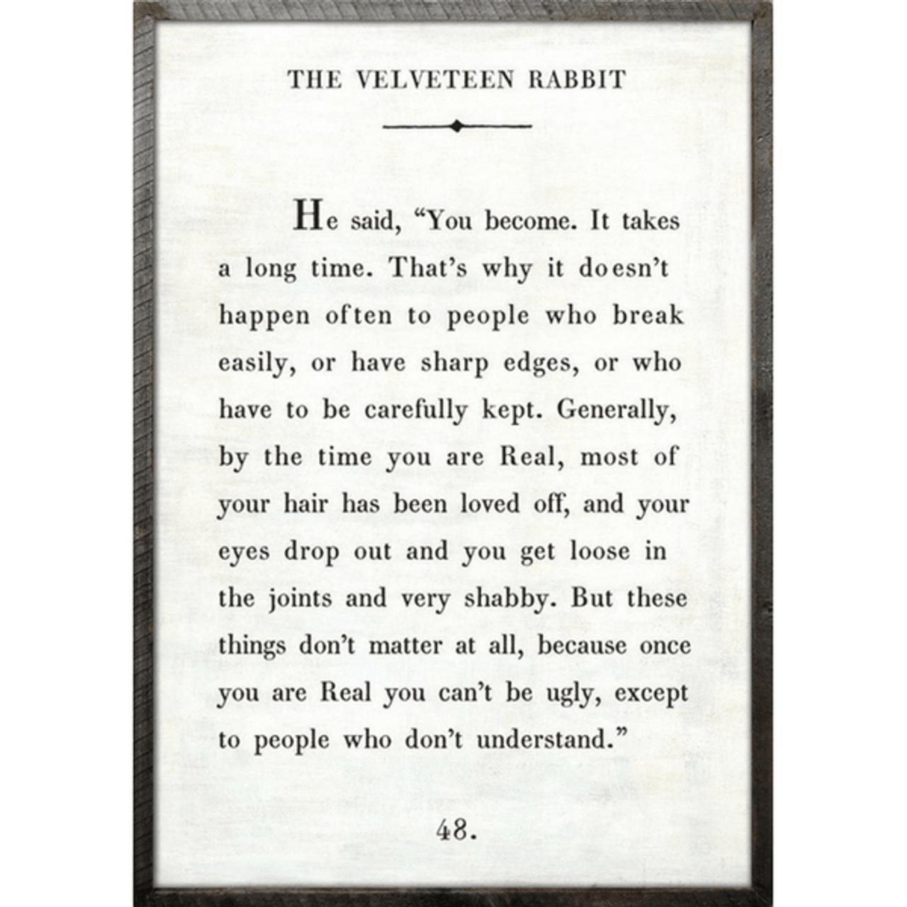 the velveteen rabbit art print - white with grey wood frame