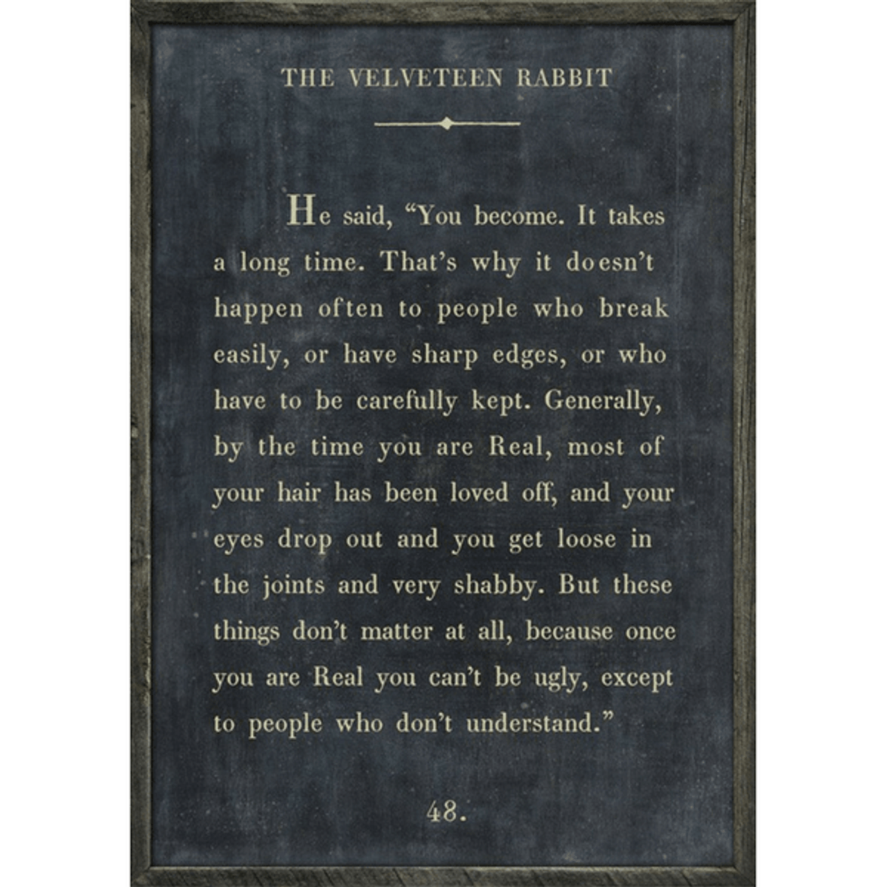 the velveteen rabbit art print - charcoal with grey wood frame