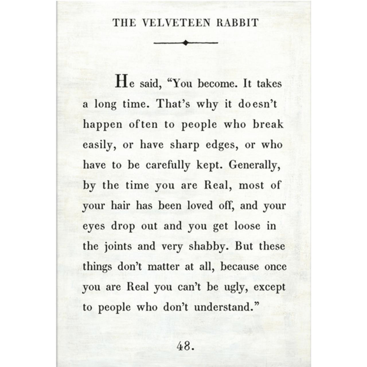 the velveteen rabbit art print - white with gallery wrap frame