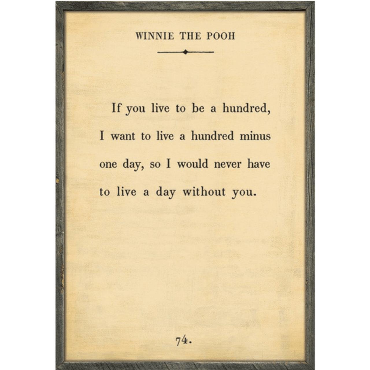 winnie the pooh art print - cream with grey wood frame