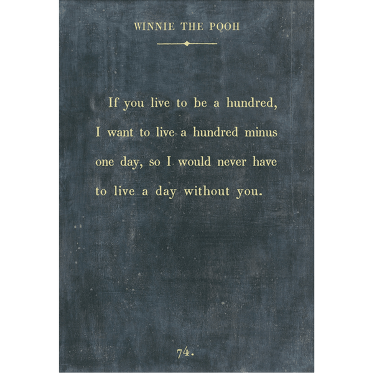 winnie the pooh art print - charcoal with gallery wrap frame