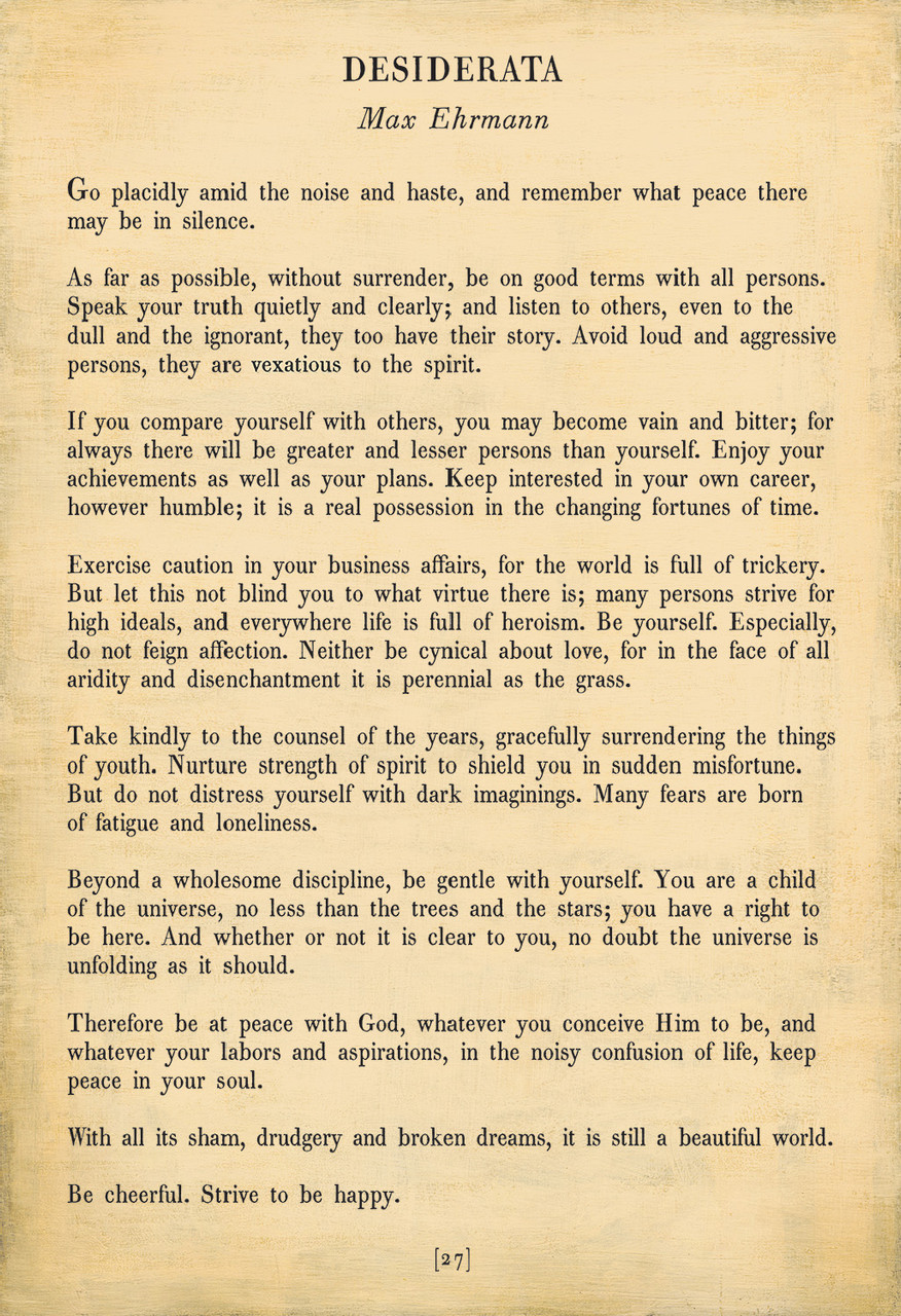Desiderata Poetry Collection - cream with gallery wrap frame