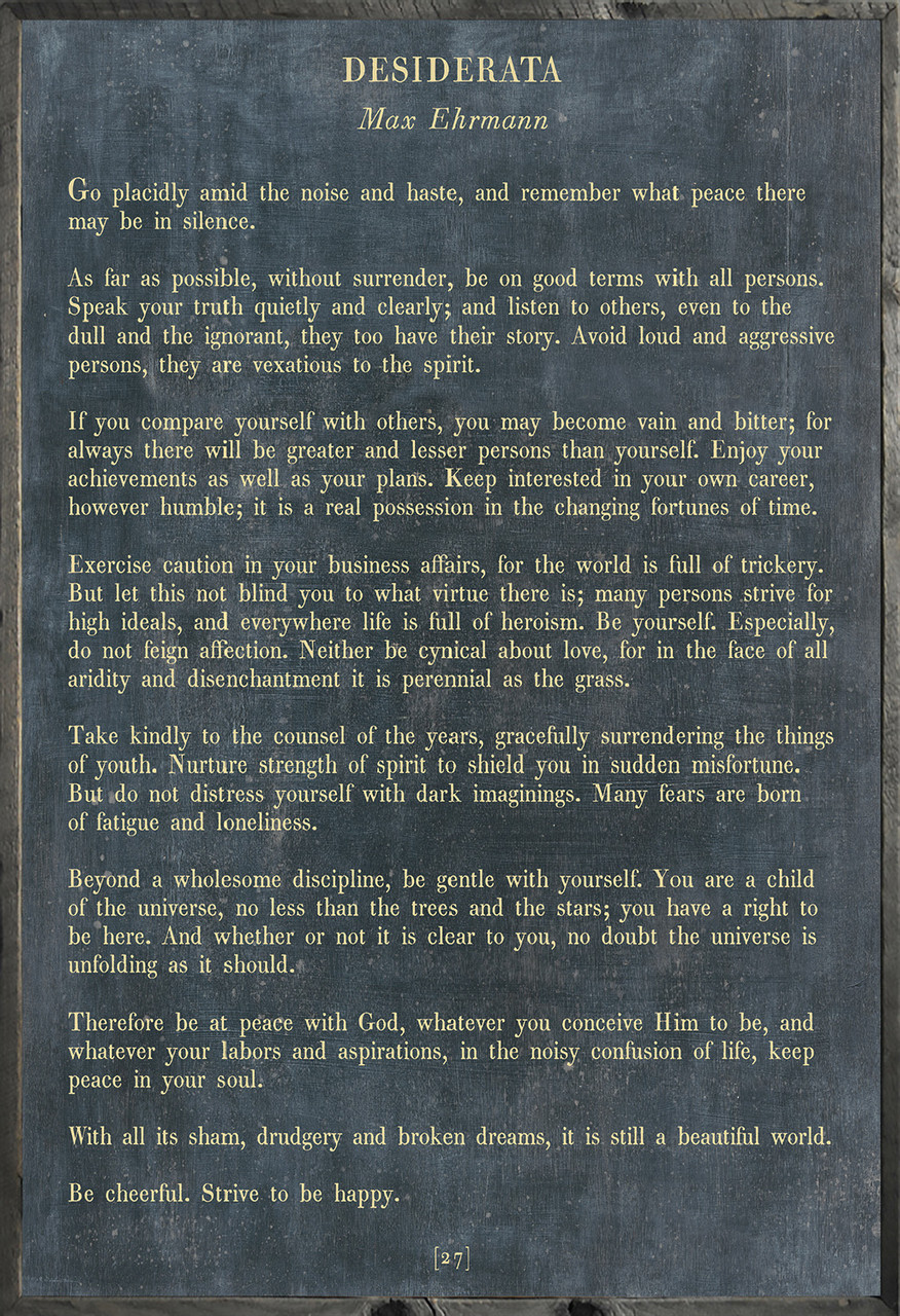 Desiderata Poetry Collection - charcoal with grey wood frame