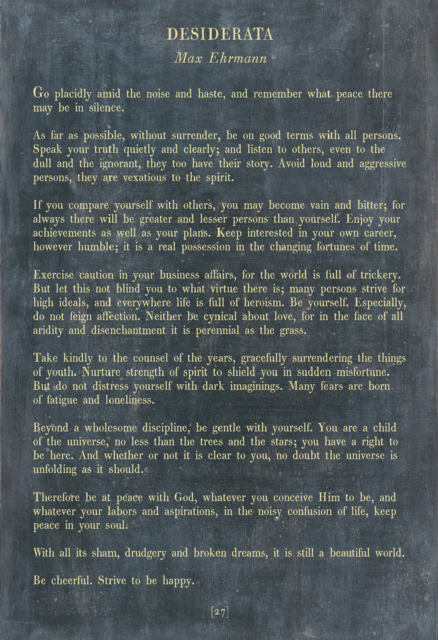 Desiderata Poetry Collection - charcoal with gallery wrap frame