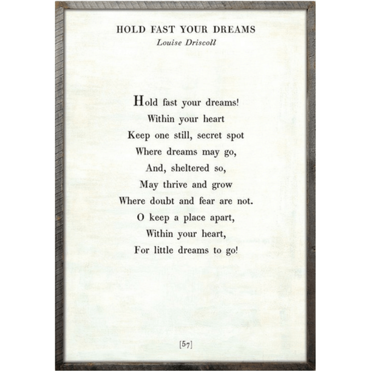 hold fast your dreams art print - white with greywood frame