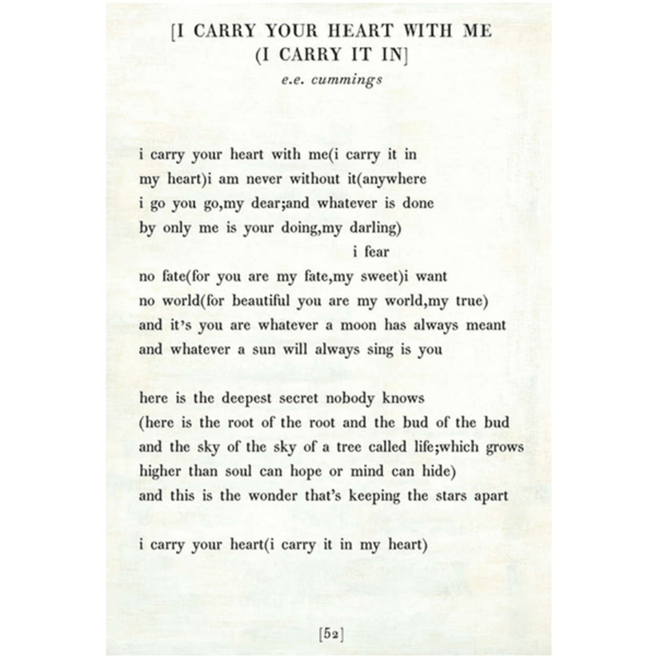 i carry your heart art print - white with gallery wrap