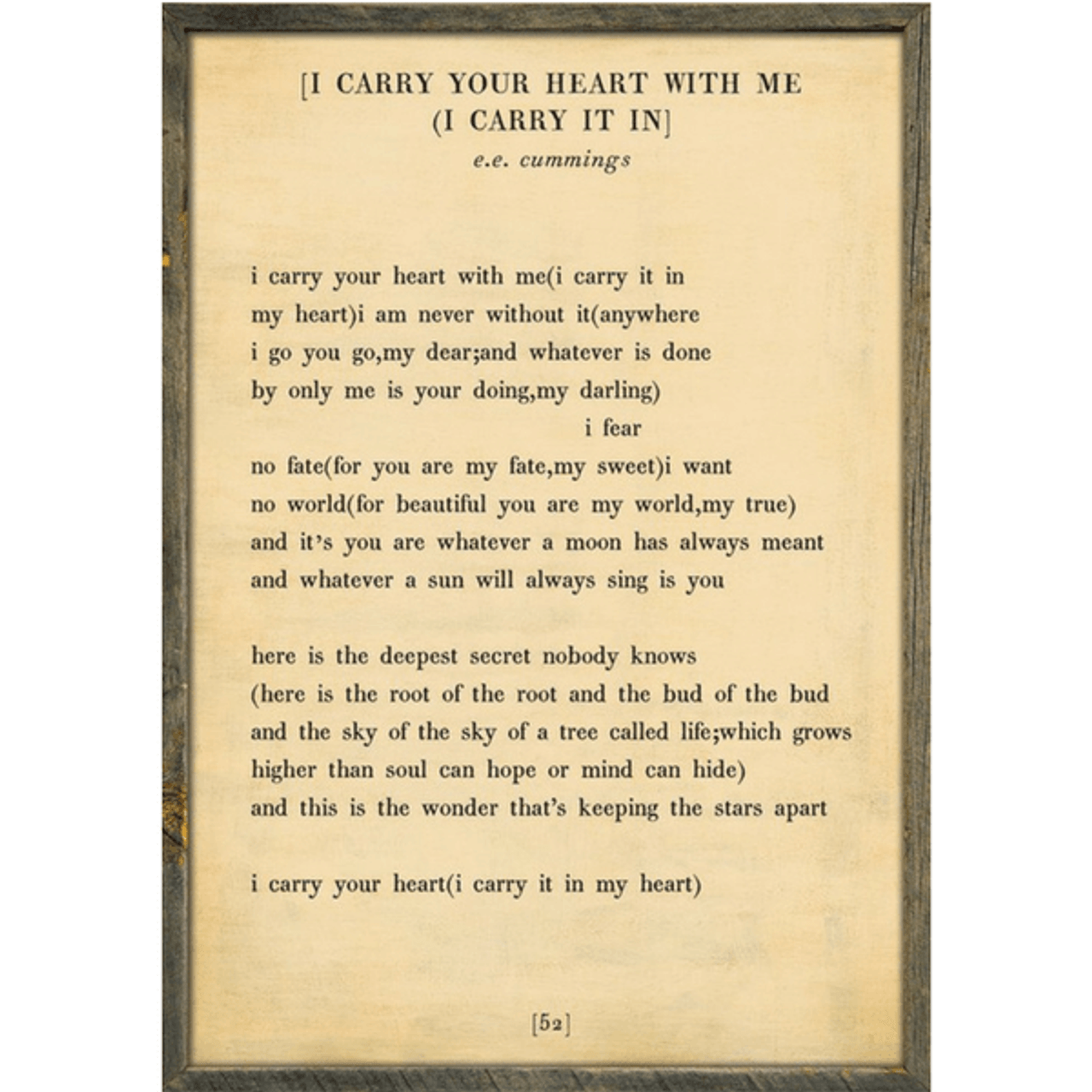 i carry your heart art print - cream with greywood frame