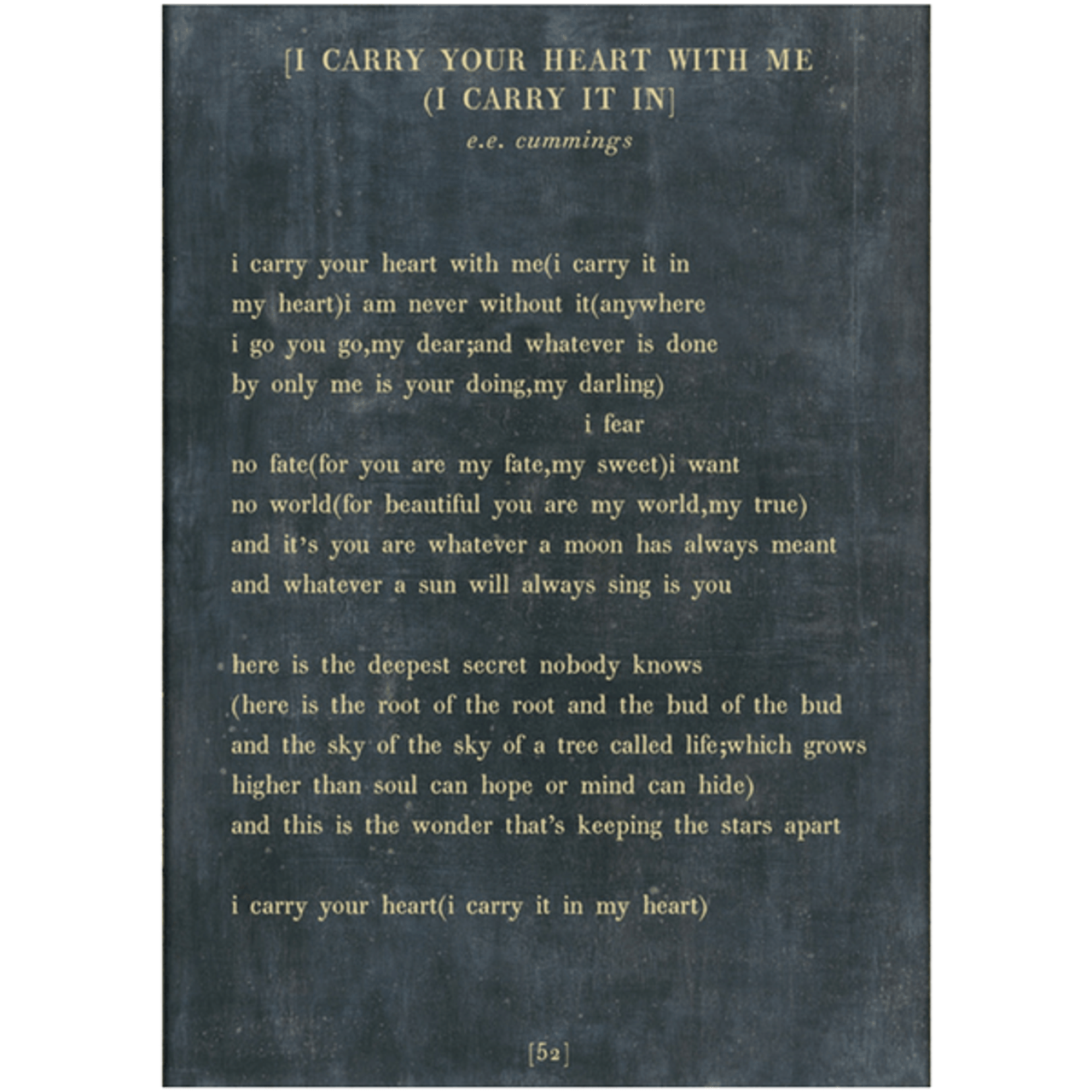 i carry your heart art print - charcoal with gallery wrap