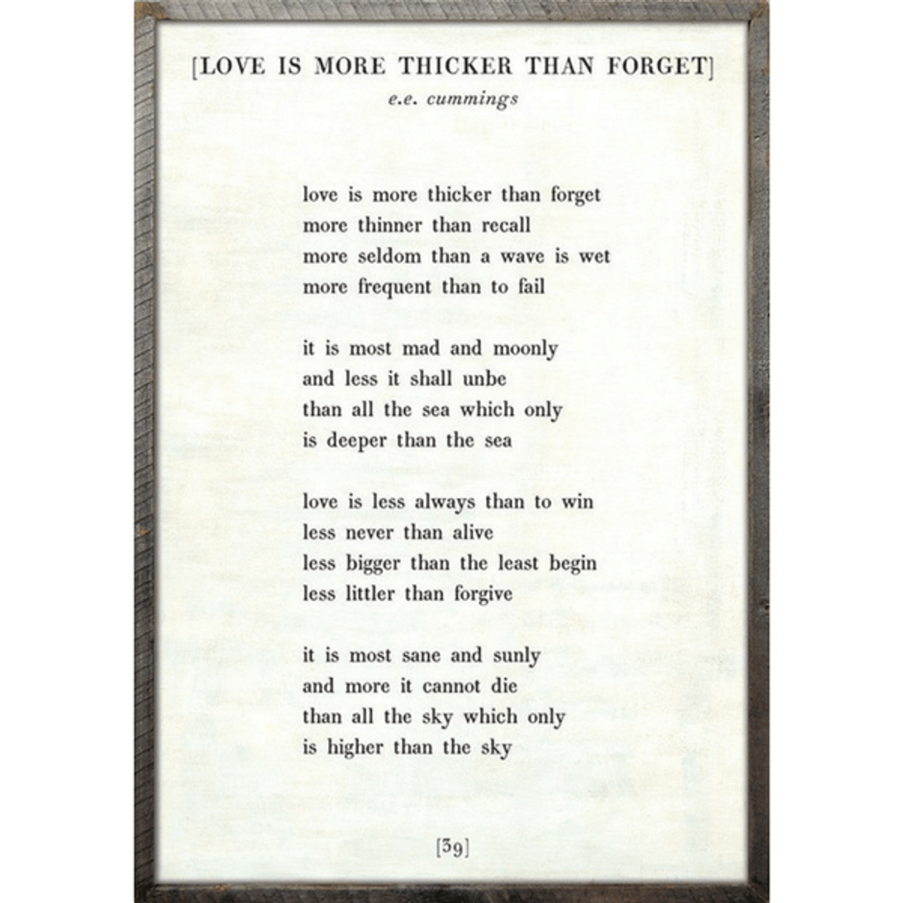 love is more thicker art print - white with greywood frame
