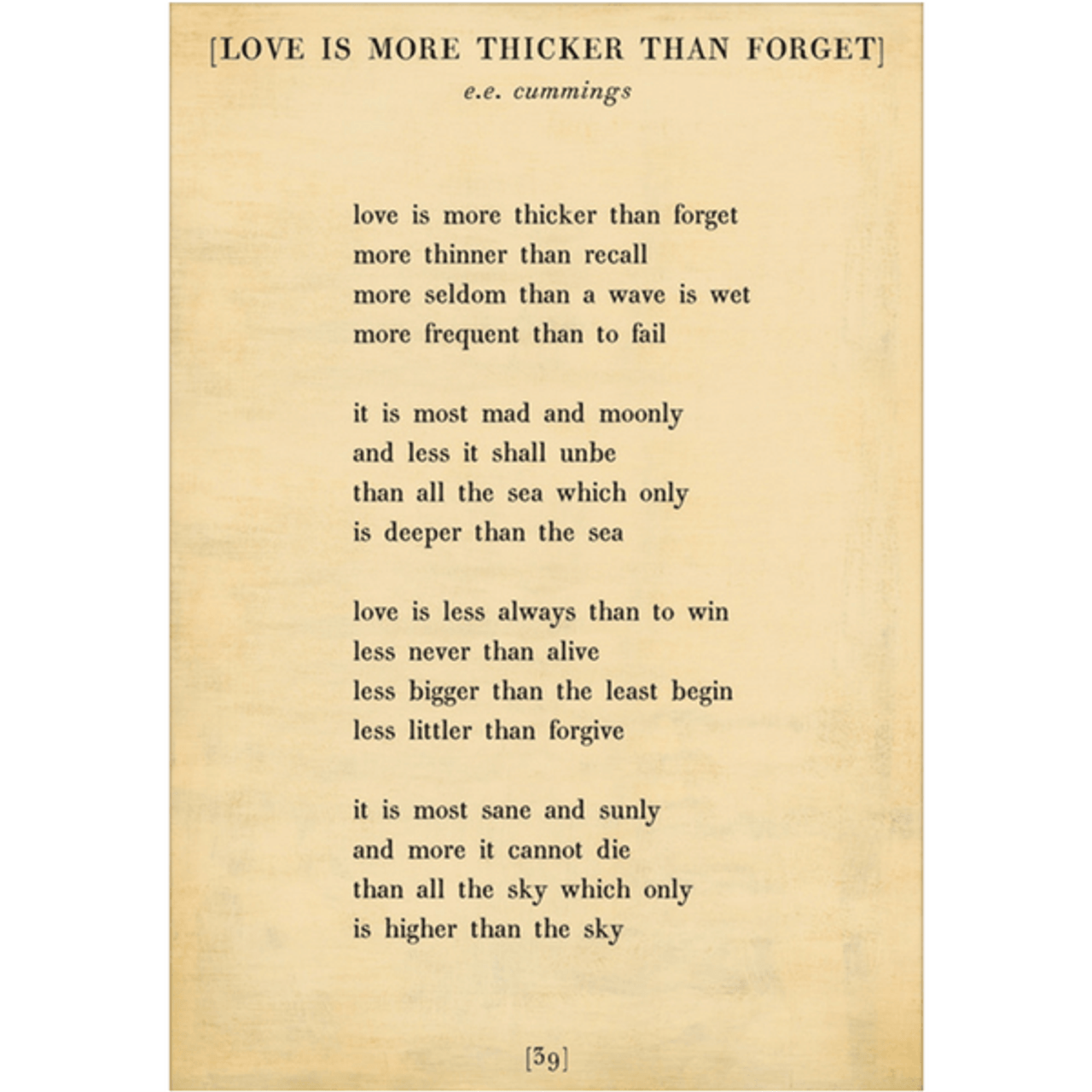 love is more thicker art print - cream with gallery wrap