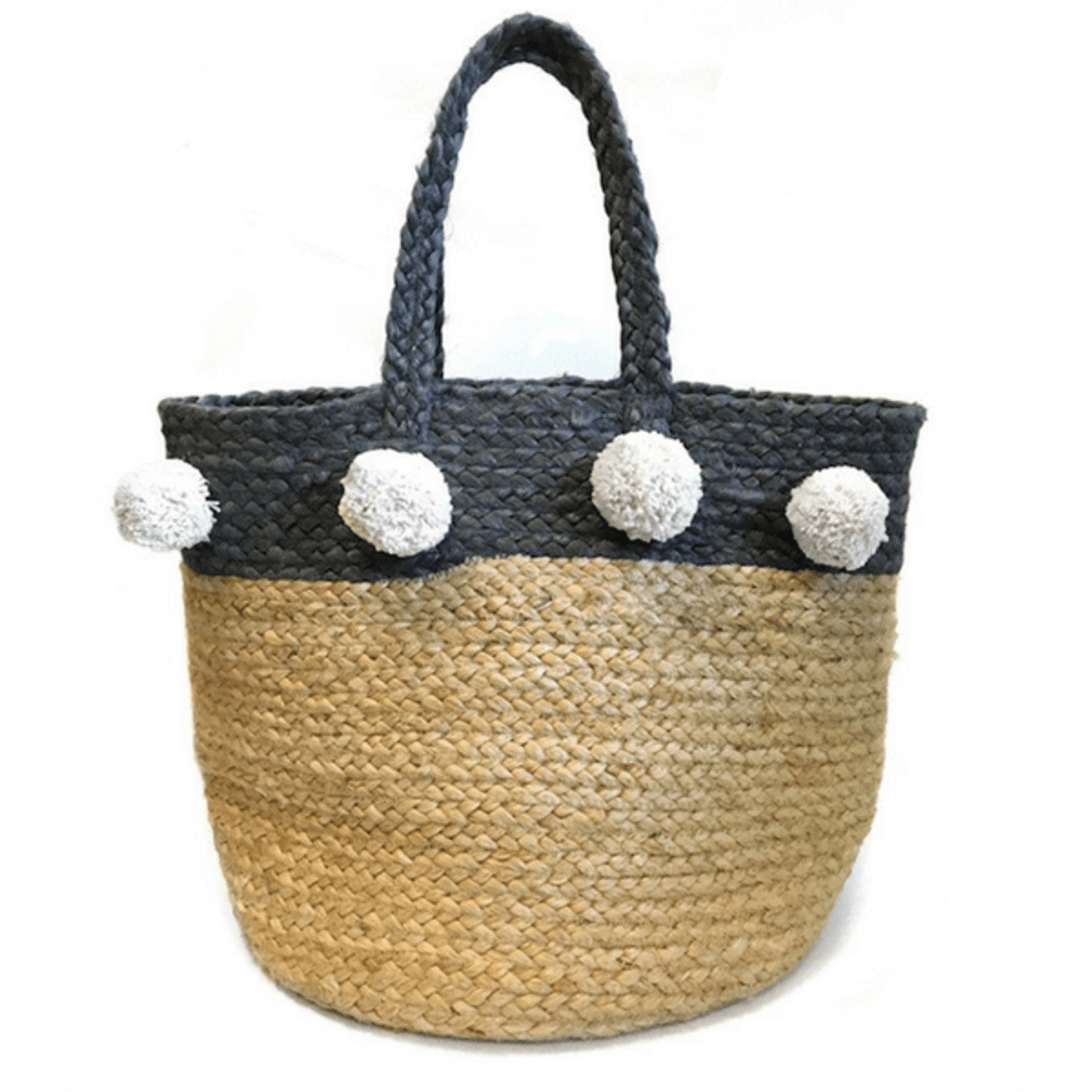 jute basket with black trim and white pompoms
