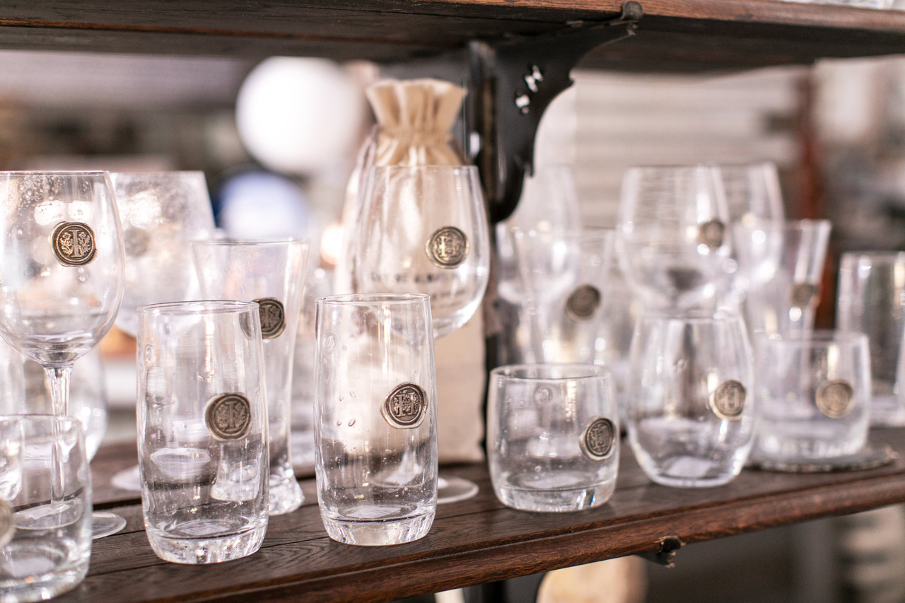 pewter initial ice tea glass