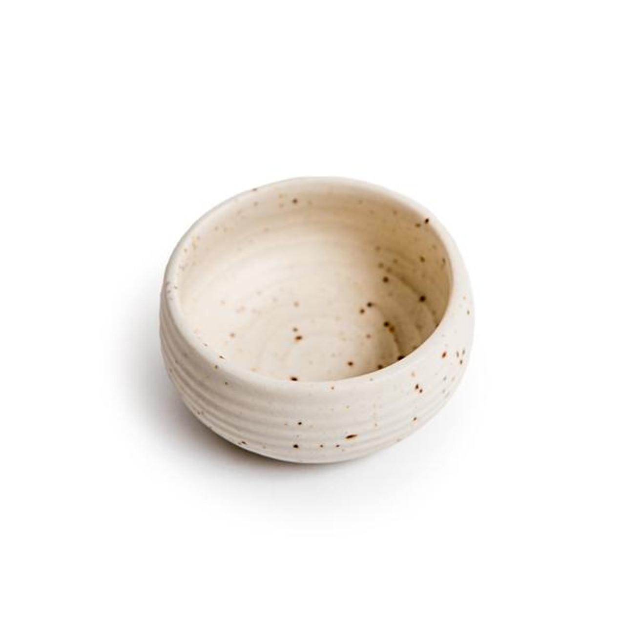 ribbed speckled ceramic dip bowl