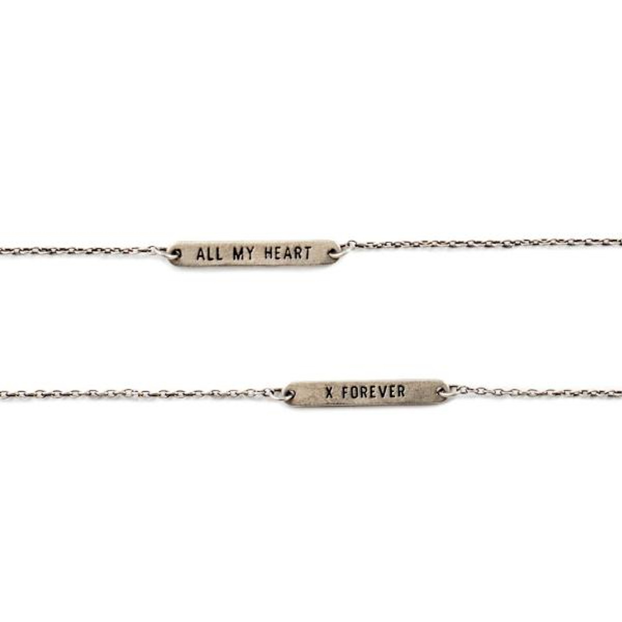 """sterling silver reversible bracelet with one side with """"all my heart"""" and the other side with """"x forever"""""""