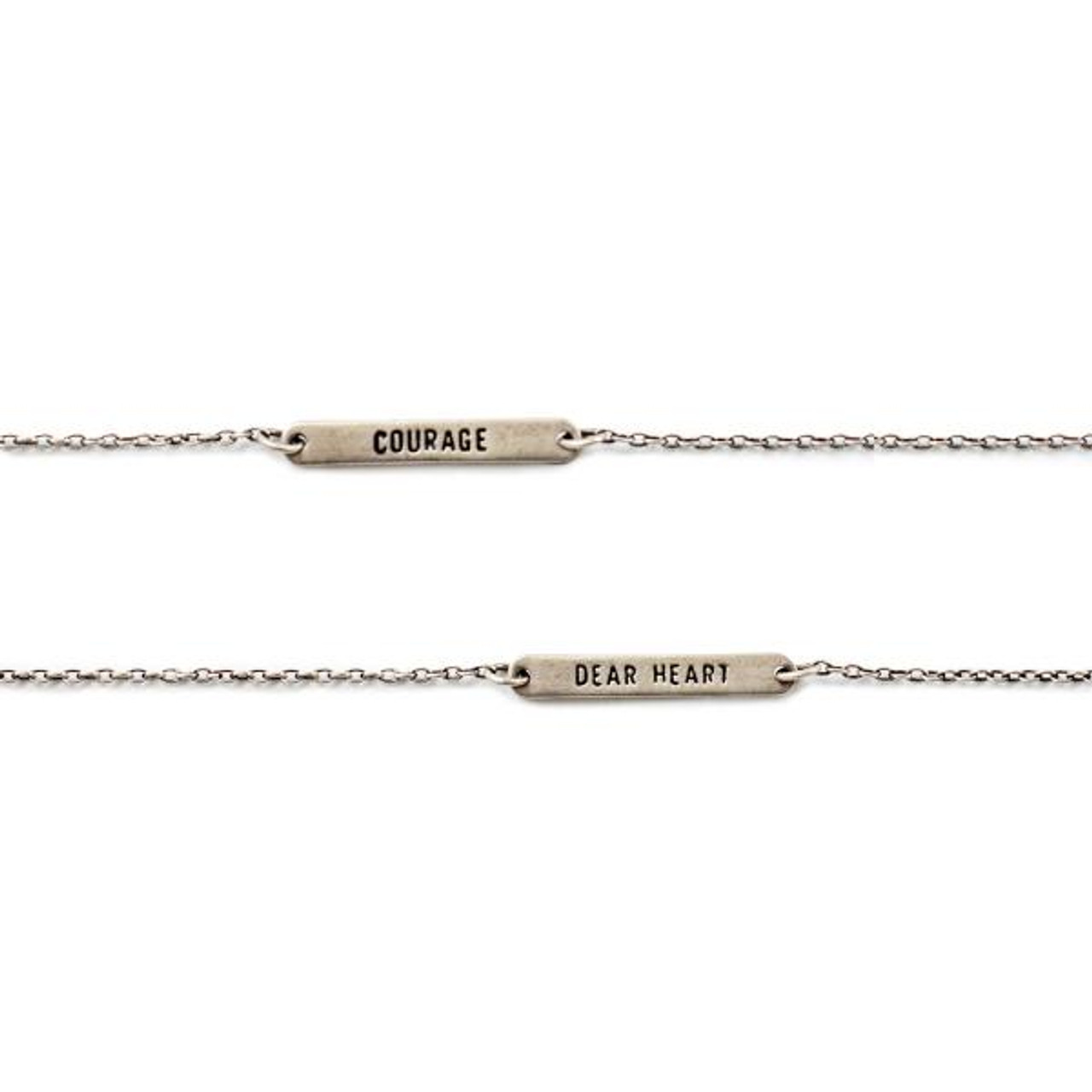 """sterling silver reversible bracelet with """"courage"""" and the other side """"dear heart"""""""