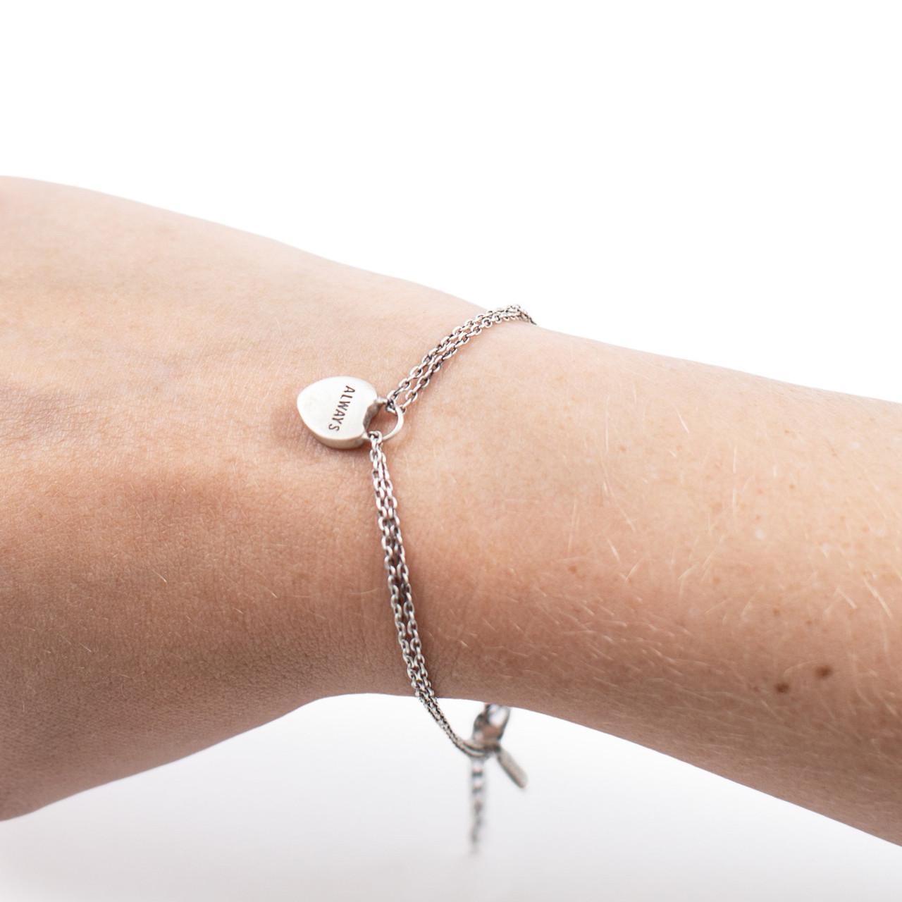 silver bracelet with heart lock