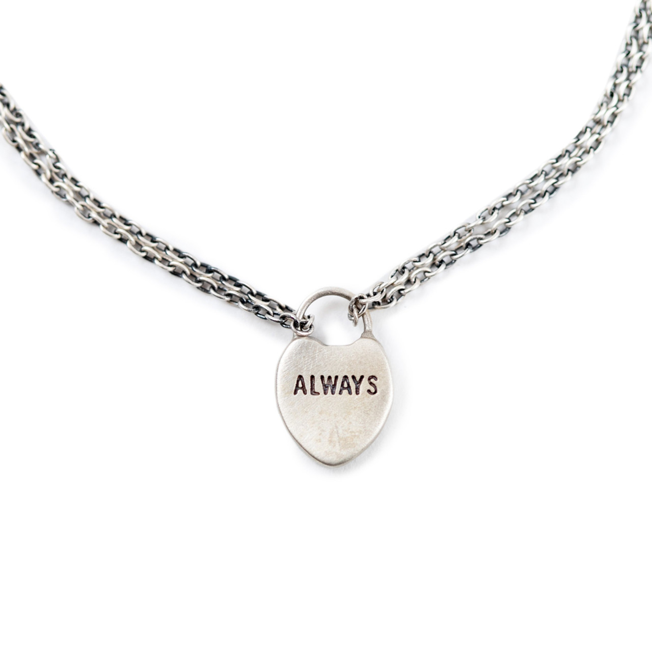 """silver bracelet with heart lock charm with """"always"""" engraved"""