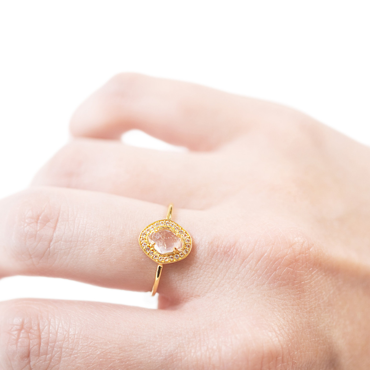 gold ring with rose quartz center stone