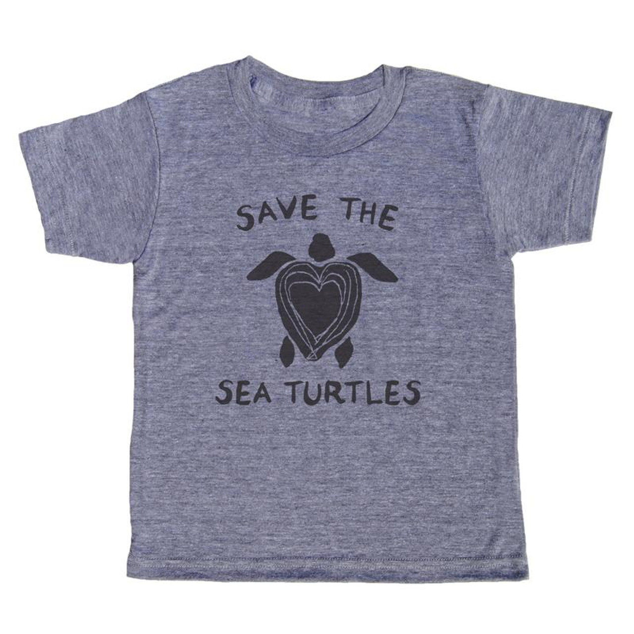 grey t-shirt with black lettering - save the sea turtles, with a sea turtle in the middle and the shell is shaped like a  heart