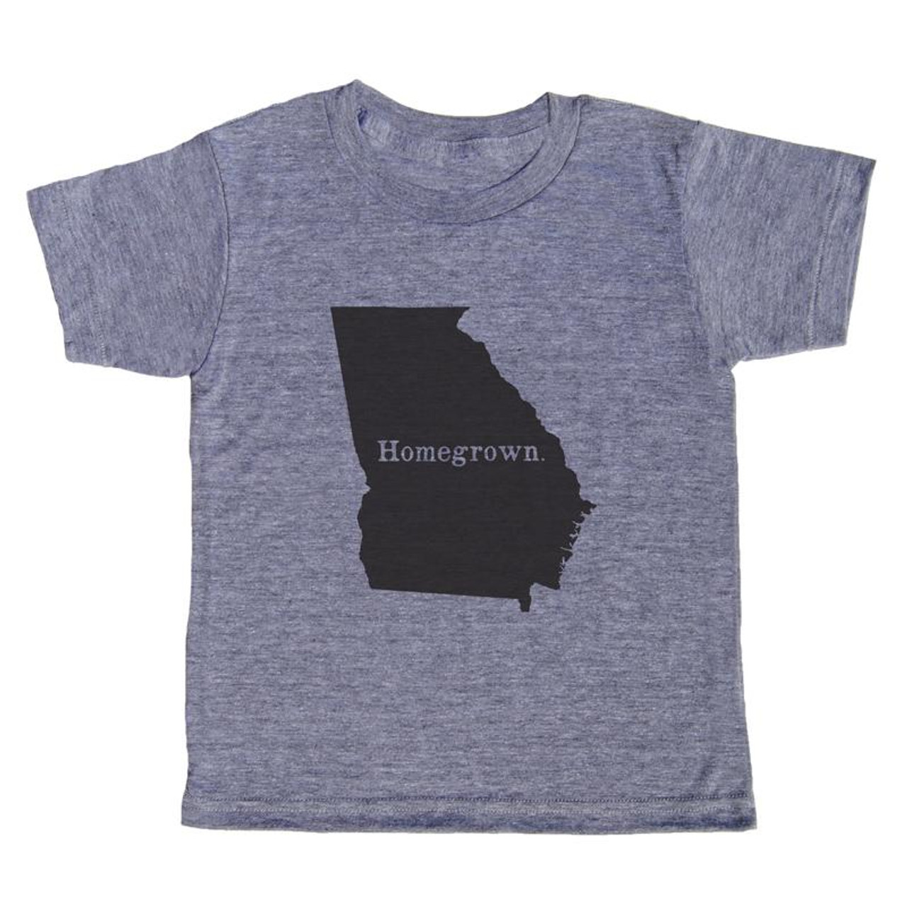 """grey t-shirt with black lettering - state of georgia with """"homegrown"""" written in the middle"""