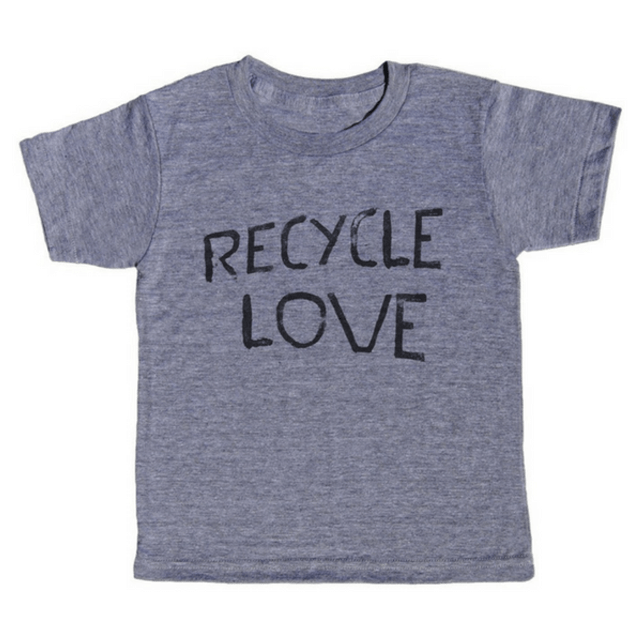 grey t-shirt with black lettering - recycle love