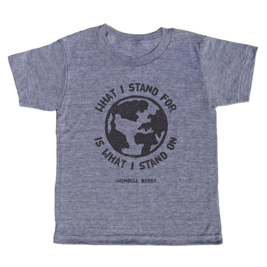 grey t-shirt with black lettering - what i stand for is what i stand on, text wrapped around the image of a world