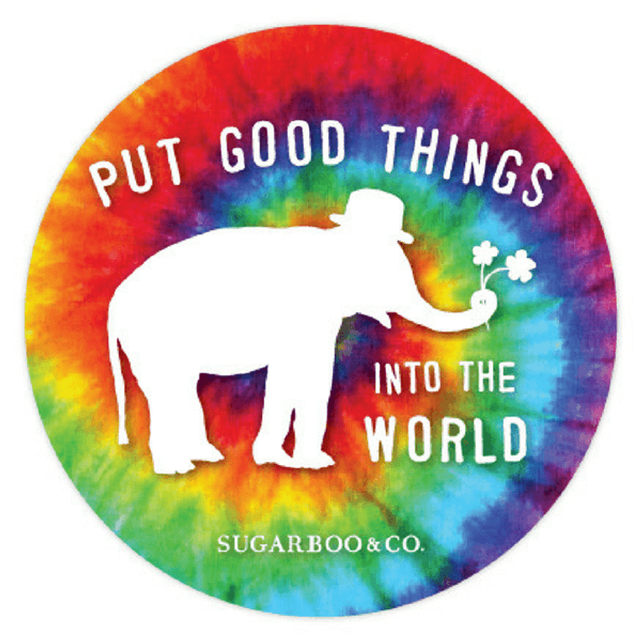 "primary color tie dye with a white elephant and the phrase ""put good things into the world"""