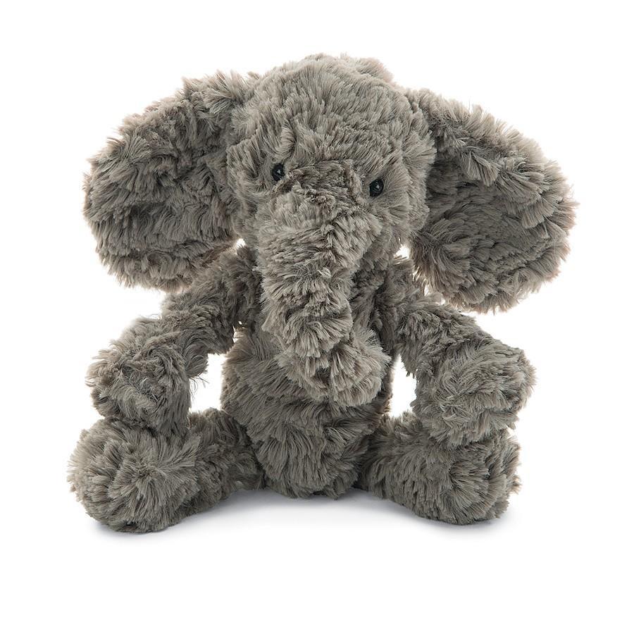 grey fuzzy stuffed elephant