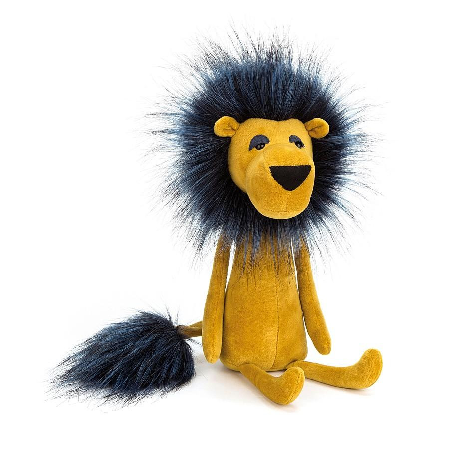 mustard yellow lion with black fuzzy mane and tail