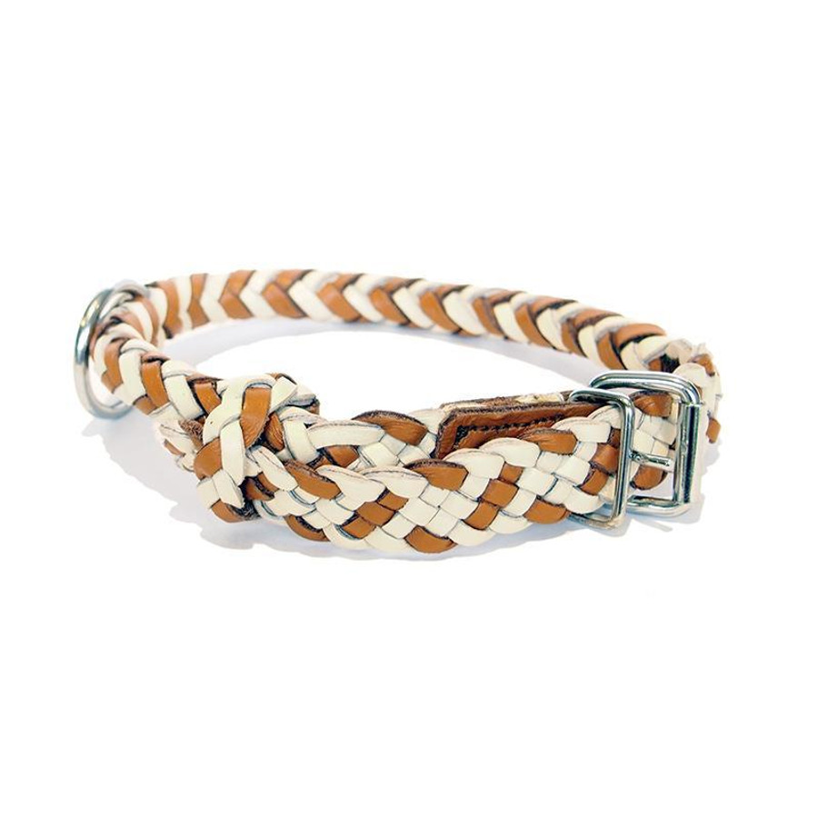 cream and tan braided leather dog collar with silver buckle
