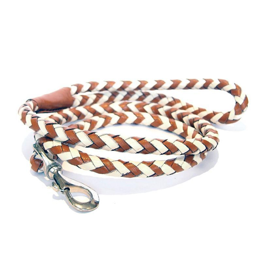 cream and tan braided leather leash with silver clasp