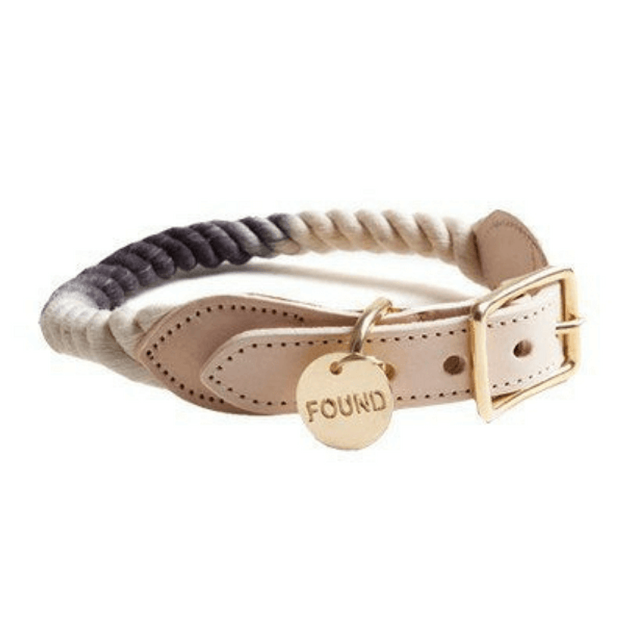 black to grey to white dog collar with beige leather and gold buckle