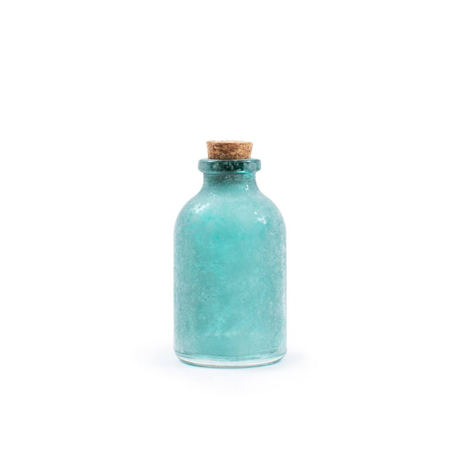 one frosted green mini bottle with cork lid