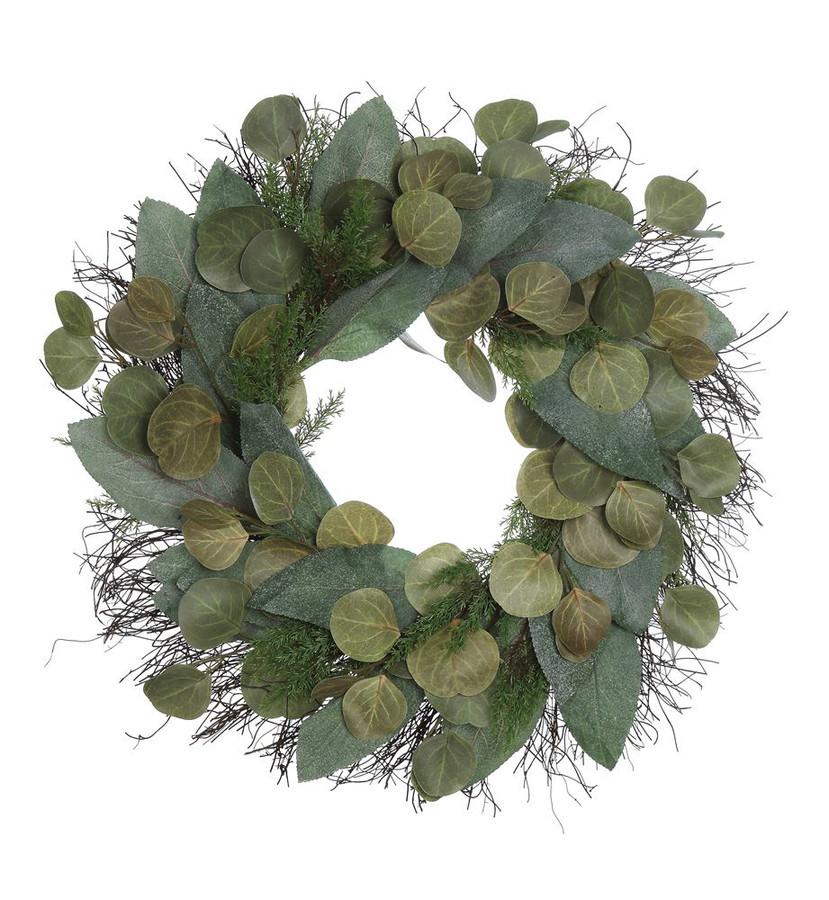 Round Faux Eucalyptus & Twig Wreath