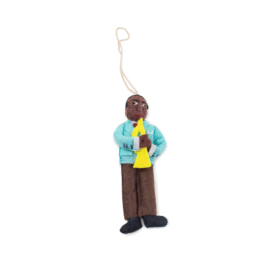 felt ornament shaped like louis armstrong