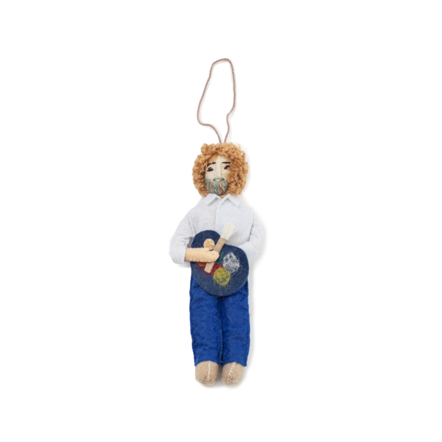 felt ornament shaped like bob ross