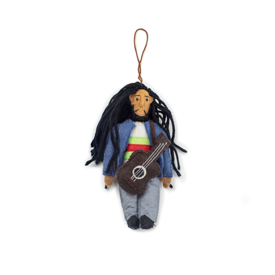 felt ornament shaped like bob marley