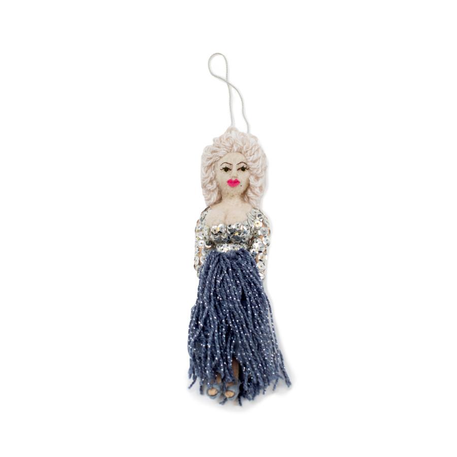 felt ornament shaped like dolly parton