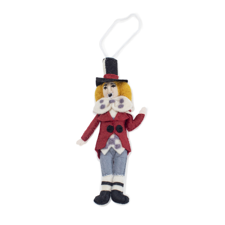 felt ornament that is shaped as the mad hatter