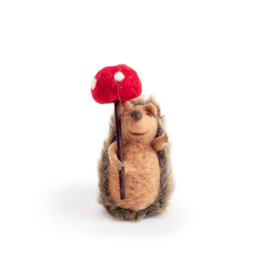Hedgehog with Mushroom Ornament