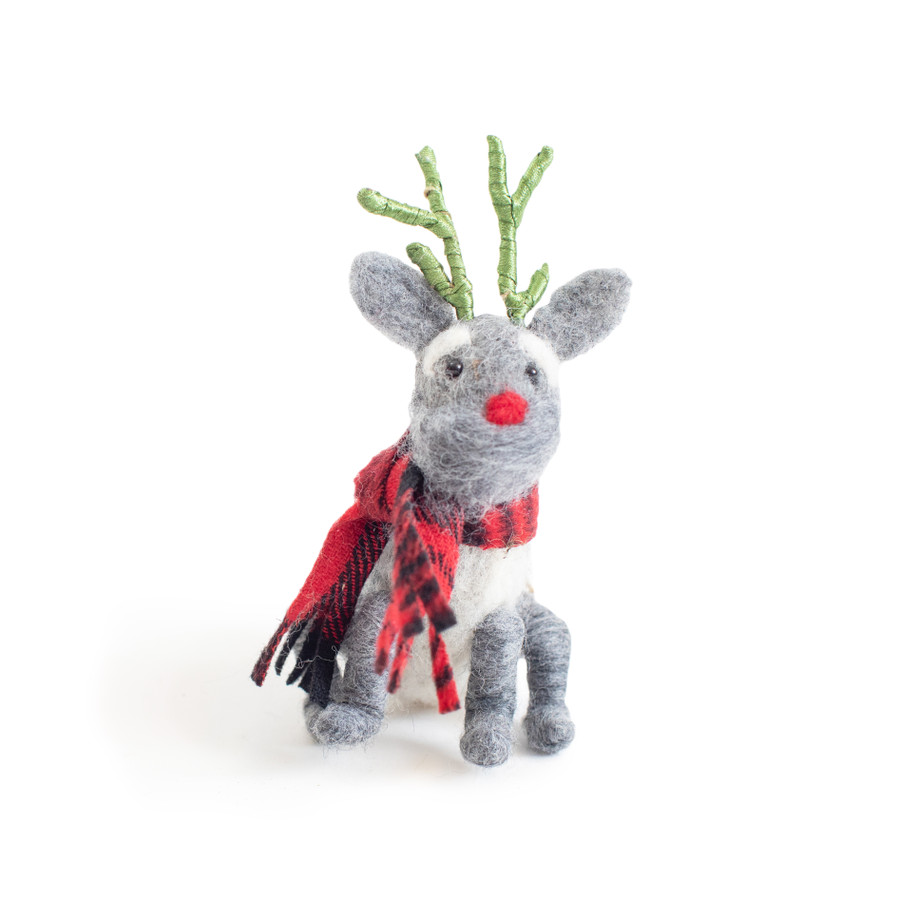 Grey Dog with Green Antlers Ornament