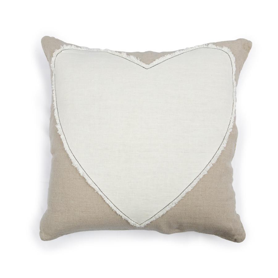 heart stitched linen pillow