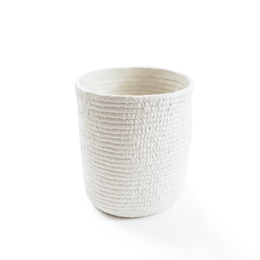 white ceramic cross weave vase