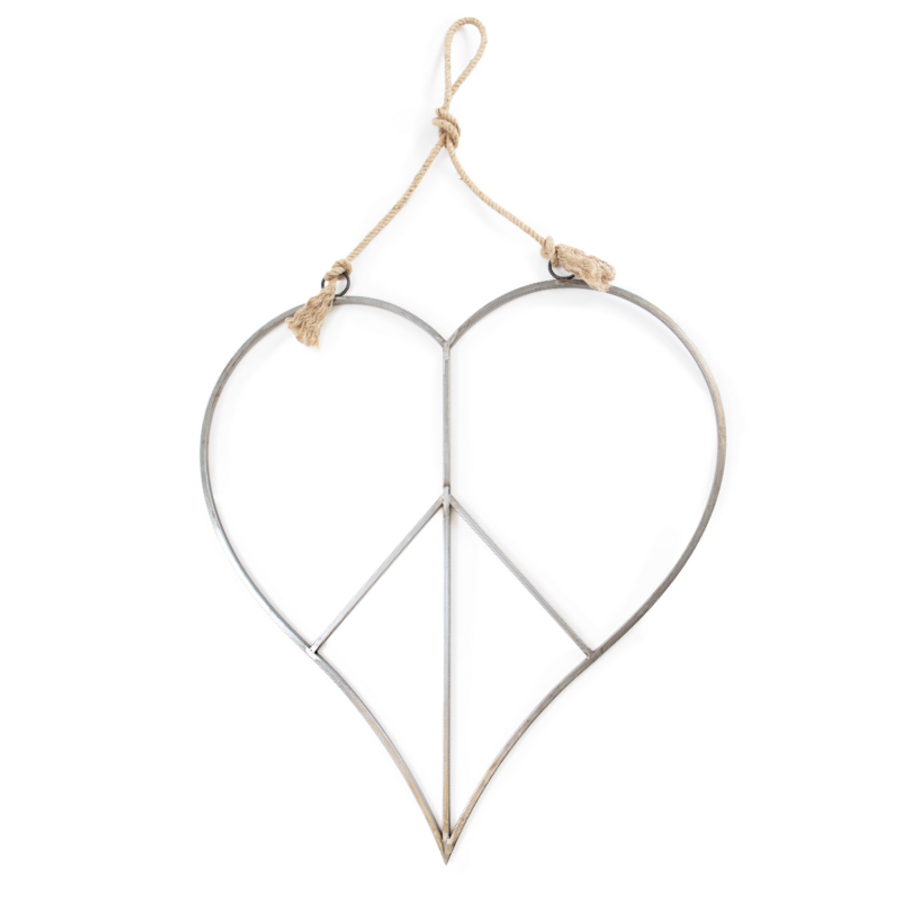 metal peace sign in the shape of a heart with a twisted jute rope used for hanging